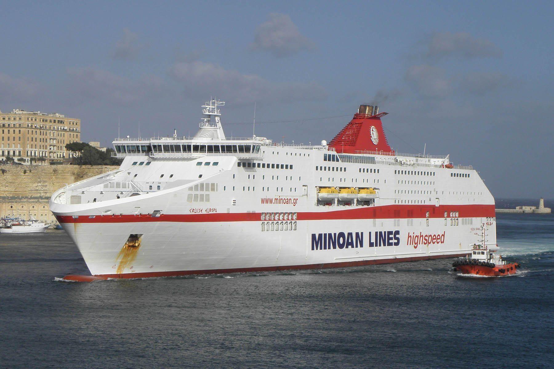 """Το επιβατηγό-οχηματαγωγό πλοίο τύπου ro-pax """"Cruise Europa"""" της Minoan Lines"""
