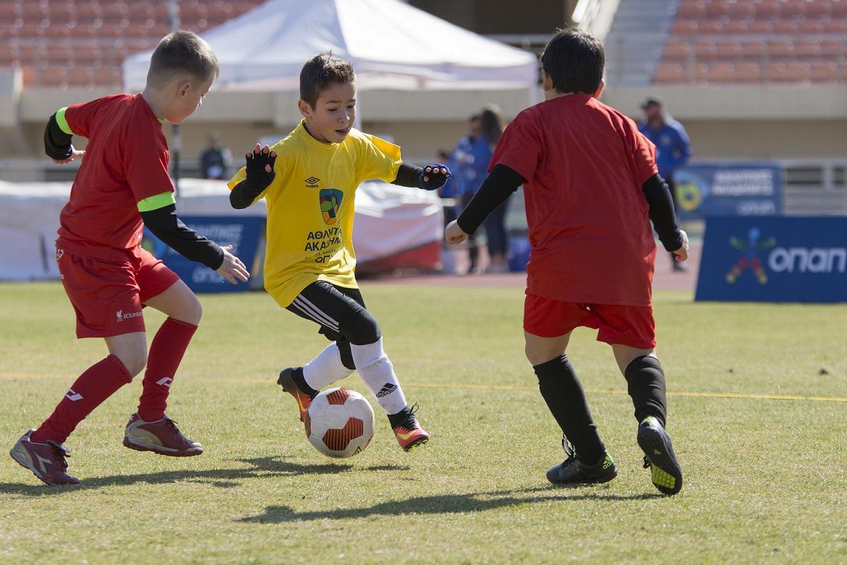 Τα παιδιά συμμετέχουν στις δράσεις του Φεστιβάλ Αθλητικών Ακαδημιών ΟΠΑΠ στο Ηράκλειο Κρήτης