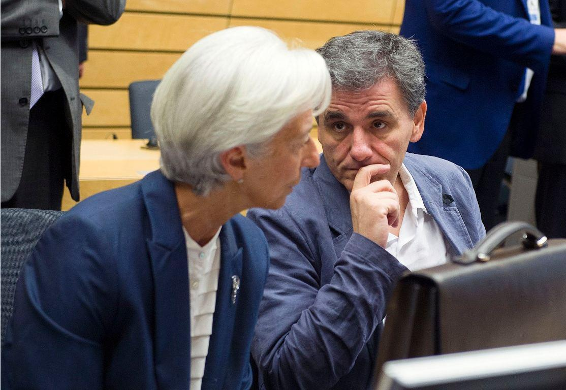 Ο υπουργός Oικονομικών Ευκλείδης Τσακαλώτος και η Γενική Διευθύντρια του ΔΝΤ Κριστίν Λαγκάρντ