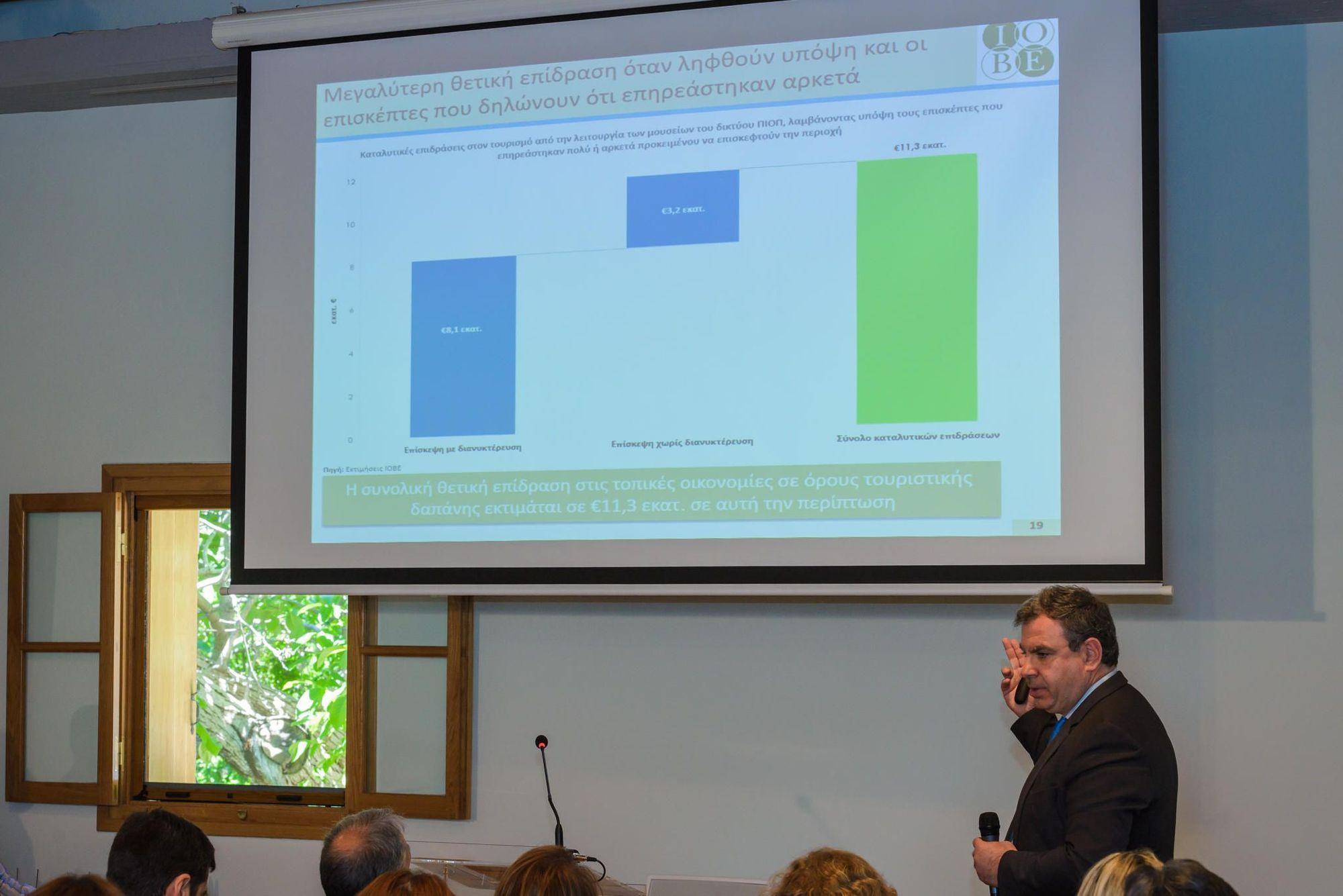 Ο Γενικός Διευθυντής του ΙΟΒΕ, κ. Νίκος Βέττας, κατά την παρουσίαση της μελέτης για την αποτίμηση των κοινωνικοοικονομικών επιδράσεων από τη λειτουργία των Μουσείων ΠΙΟΠ.