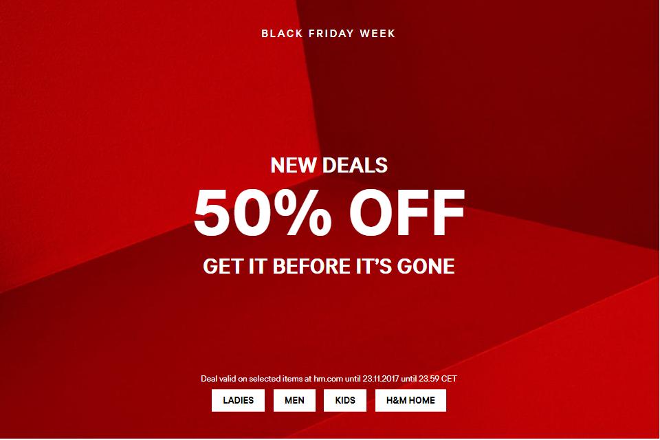 Η σουηδική εταιρεία ρούχων θα συμμετάσχει φέτος στον θεσμό της Black Friday  με εκπτώσεις που θα αγγίξουν έως και το 50%. 2e03a11fb70